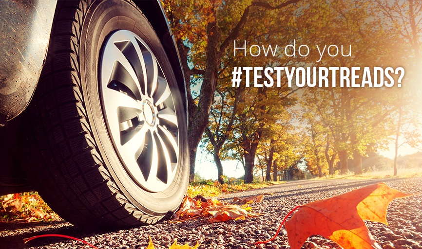 car tyre on autumn road