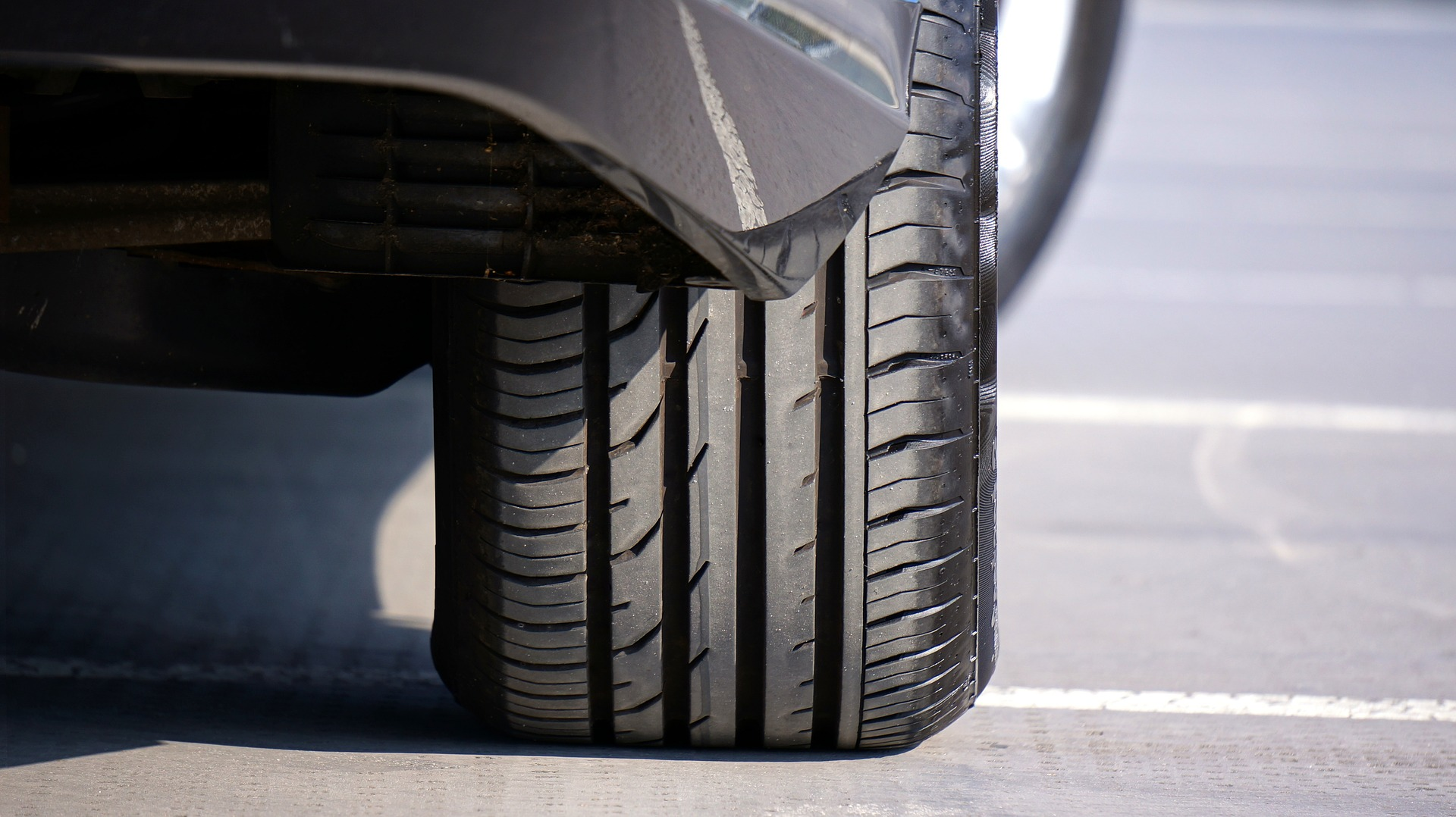 front view of tyre on road