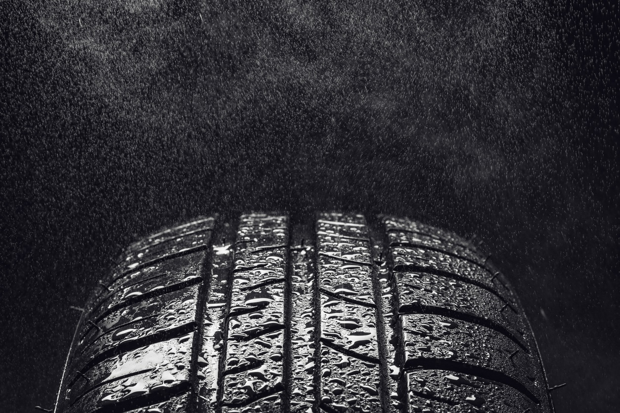 tyre with drops of water on tread